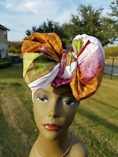 White And Pink Headwrap;White African Headwrap; Ankara Headwrap; African Fabric