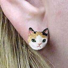 Conversation Concepts Tortoise & White Japanese Bobtail Earrings Post