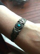 Vintage Navajo Fred Harvey Era Bracelet *Sterling or Coin Silver* + Turquoise