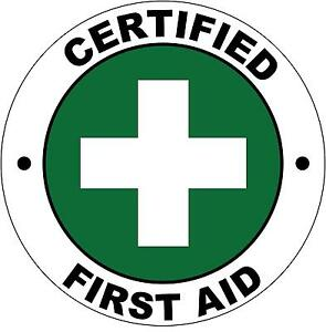 Hard Hat Certified First Aid Sticker Sign Decal 50mm Public 5 Set WHS OHS