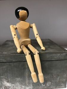 """Vintage Handmade Jointed 10.75"""" Peg Wooden Doll"""