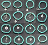 Hot sell Fashion exquisite turquoise beads alloy pendant charm Bracelet 8mm