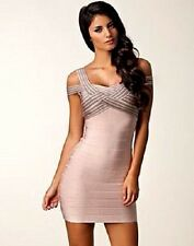 NWT Bebe ivory nude off shoulder cutout stretchy bandage top dress S small