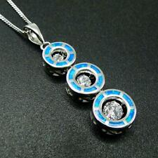 925 Sterling Silver Australian Blue Opal, 3 Dancing Floating CZ Journey Necklace