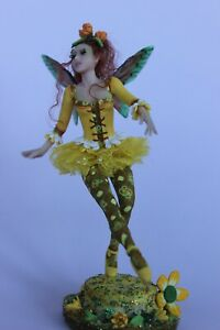 OOAK doll fairy, fairy Dandelia, 1:12, polymer clay sculpture, by Diana Genova