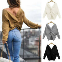 Women's Casual Long Sleeve V Neck Knitted Sweater Jumper Knitwear Tops Pullover
