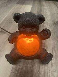 TEDDY BEAR LAMP.CHEYENNE BEAR NIGHT LIGHT. AMBER GLASS BEAR LIGHT. W