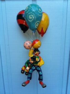 Vintage Hanging Paper Mache Clown Balloon Folk Art Mexico two clowns