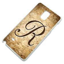 Letter R on Cork Design Slim Fit Hard Case Fits Samsung Galaxy Note 4