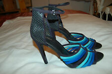 NWOB Zara Woman Suede Blue/Black/Turquoise Straps Ankle Strap Heels Shoes Sz 40