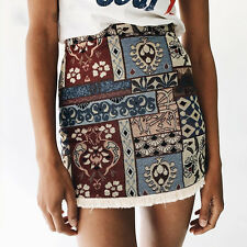 Women Boho Floral Print High Waist Summer Casual Bodycon Beach Short Mini skirt