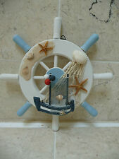 Seaside Nautical Wooden Shabby Ships Wheel Bathroom Ornament Rustic  NEW