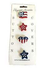 New listing Set/4 Patriotic Button Covers Red White Blue Clothing Accessory Fashion Jewelry