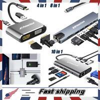 Multiport Docking Station USB C Type-c To HDMI VGA RJ45 HUB For Mac & Windows