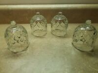 "4 Vtg Glass Votive Holder Sconce Heavy Scalloped Edge 4"" Diamond Cut Base HomCo"