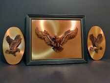 Copperama Flying Eagles by Victor Personette Wall Plaques 3D Copper Art 3 pc set