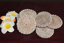 NEW Bali Woven Rattan Coasters w/Shell Trim - Balinese Woven Coasters w/Shells
