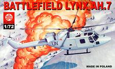WESTLAND BATTLEFIELD LYNX AH 7 (BRITISH ARMY & UNITED NATIONS MKGS) 1/72 PLASTYK