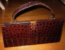 Vintage 50's / 60's Vassar Genuine Alligator Leather Large Satchel Purse