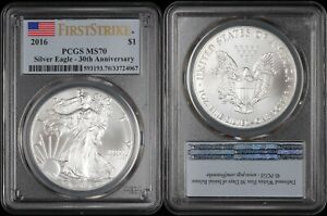 2016 Silver Eagle - PCGS MS70 First Strike - 30th Anniversary