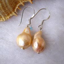9-10mm Peach Pink Kasumi Drop Freshwater Pearl Dangle Earrings D8S S