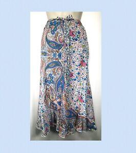 Green Vintage 100/% Silk Paisley Skirt size 14