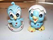 VINTAGE KREISS BLUEBIRD SALT & PEPPER SHAKERS RHINESTONE EYES JAPAN