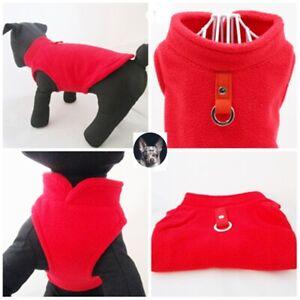 ✅Hundepullover Softgeschirr Weste Mantel Chihuahua Jacke Fleece Rot 3 Größen