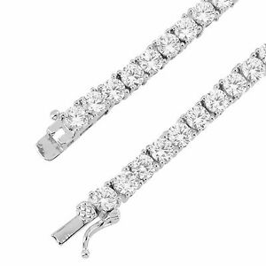 Men's 18 Inches 4mm Solitaire White Gold Finish One Row Tennis Necklace Hip Hop