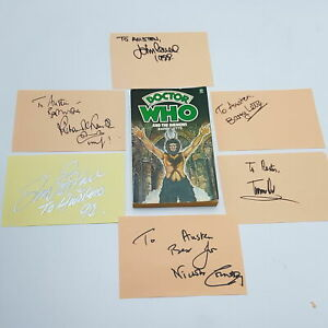 Doctor Who THE DAEMONS Signed Jon Pertwee Autograph Book Pages | Cast & Crew