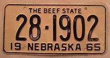Nebraska 1965 HAMILTON COUNTY License Plate HIGH QUALITY # 28-1902
