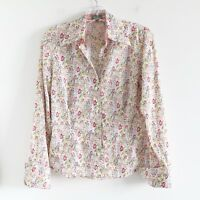 Marc Aurel white green pink floral print buttoned shirt liberty top size 4 small