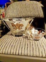 Vintage Anchor Hocking Festive Gold White on Clear Chip and Dip Bowl Set MCM