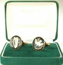 1936 IRELAND cufflinks from OLD IRISH Farthing coins Black Gold   SCARCE YEAR