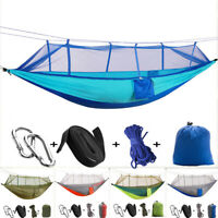 Portable Double Outdoor Person Travel Camping Hanging Hammock Bed+Mosquito Net