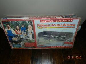Eastman Outdoors Portable Propane Double Burner Deluxe freestanding to tabletop