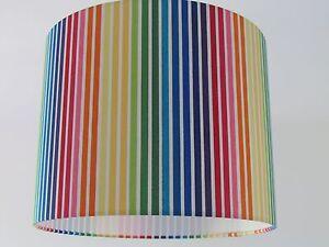 Lampshade Rainbow Multi Coloured Stripe Stripy Drum Light Shade