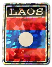 Wholesale Lot 12 Laos Country Flag Reflective Decal Bumper Sticker