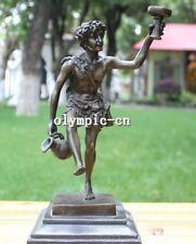 Bronze Art Sculpture a man hold burner pot statue marble base