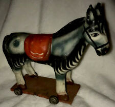 Intricate Antique Primative Hand Painted Composition Figural Zebra Child's Toy