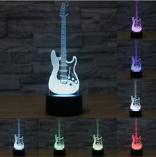 Guitar Electric 3D Light Lamp USB Night 7 Colours Led Touch Change Table Desk