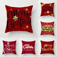 Festive Gift Pillow Christmas Cover Case Xmas Decor Throw Linen Home Cushion