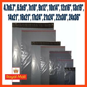 Grey Mailing Bags Plastic Royal Mail Large Letter Small Medium Parcel Postal Bag