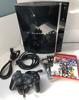 Sony PlayStation 3 80GB PS3 Fat Black Console- CECHK01- 1 Controller & 3 Games