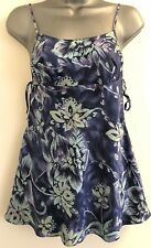 Victoria's Secret Blue Floral Silk Tied Sides Chemise Negligée Extra-Small