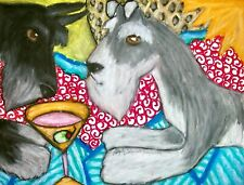 Miniature Schnauzer Drinking a Martini 2.5 x 3.5 Aceo Dog Pop Art Print by Ksams
