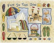 "Fun In The Sun Area Rug 37""x52"" Home Accent Area Rug Beach Print Fish Sand Ocean"