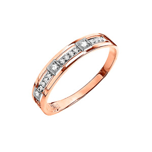 Damenring mit Brillanten Russische Rosegold 585 (14 Karat) Diamant