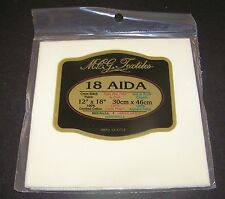 Aida Cloth Ivory Cream Cross Stitch Embroider 12 x18 inch 18Count New Sew Fabric