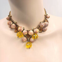 """Vintage Yellow Stones Gold Tone Cluster Cascade Bib Beads Necklace Statement 17"""""""